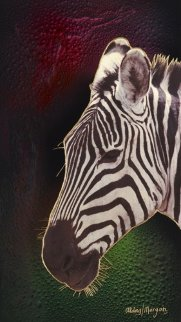 Black Or White Zebra 36x20 Original Painting - Juergen Aldag