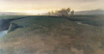 Oxbow At Evening  2003 91x47 Mural Original Painting - Brad Aldridge