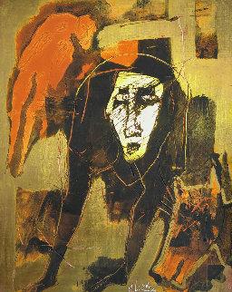 Untitled (Abstract) 1970 12x10 Original Painting - Alejandro Santiago