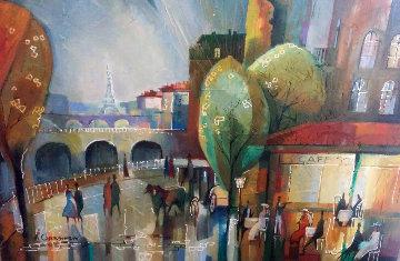 Paris 50x41 Original Painting - Alex Grinshpun