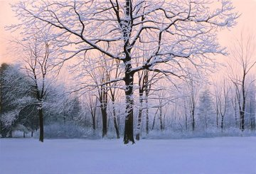 Winter Sunrise 2007 51x69 Original Painting - Alexander Volkov