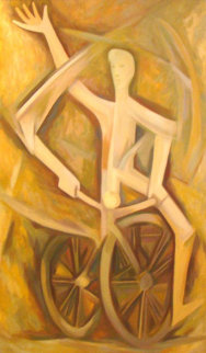 Ciclista 1976 58x36 Super Huge Original Painting - Alfredo Zalce