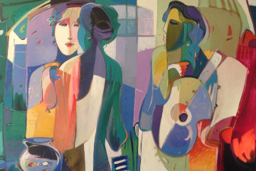 Rehearsal 1995 60x78 Huge Original Painting - Ali Golkar