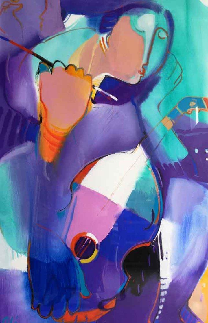 Woman With Violin 2010 48x35 Super Huge Original Painting by Ali Golkar