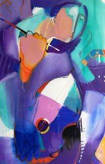 Woman With Violin 2010 48x35 Original Painting - Ali Golkar
