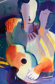 Man and Women with Instrument 2010 48x35 Original Painting - Ali Golkar
