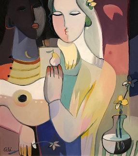 Moonlight Reflections 2003 51x41 Huge Original Painting - Ali Golkar