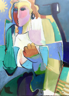 Morning Reflections 1996 41x33 Super Huge Original Painting - Ali Golkar