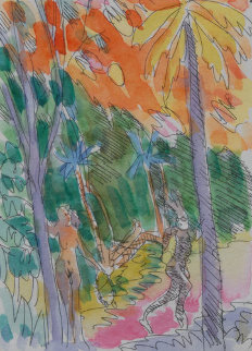 Garden of Eden Watercolor 1984 7x5 Watercolor - Carlos Almaraz