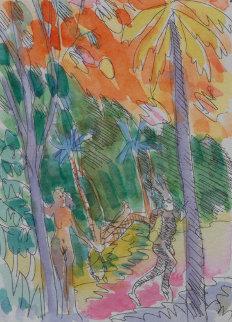 Garden of Eden Watercolor 1984 7x5 Watercolor by Carlos Almaraz