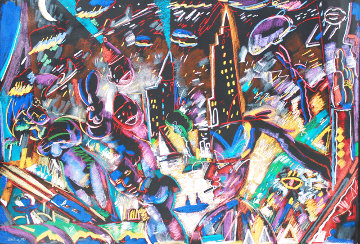 Laughing And Crying 1987 42x55 Huge Limited Edition Print - Carlos Almaraz