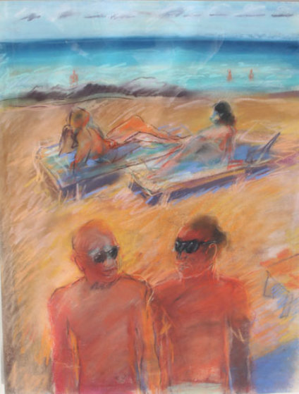 Untitled Beach Pastel Painting 1984 26x20 Works on Paper (not prints) by Carlos Almaraz