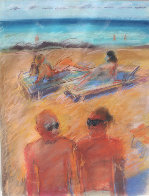 Untitled Beach Pastel Painting 1984 26x20 Works on Paper (not prints) by Carlos Almaraz - 1