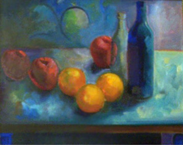 Still Life with Fruit 1988 23x27 Original Painting - Carlos Almaraz
