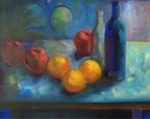 Still Life with Fruit 1988 23x27 Original Painting by Carlos Almaraz