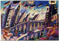 Growing City 1988 36x48 Super Huge Limited Edition Print by Carlos Almaraz - 1