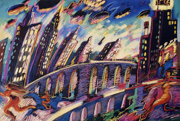 Growing City 1988 36x48 Limited Edition Print by Carlos Almaraz