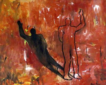 La Doble Moral 2011 31x39 Original Painting - Angel Alonso