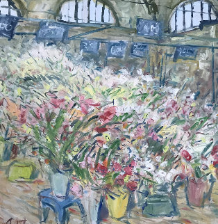 Flower Market At Arles 1980 48x48 Original Painting by Duane Alt