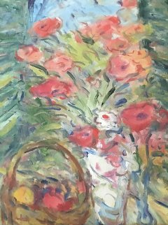Untitled Floral 1970 20x16 Original Painting - Duane Alt
