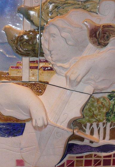 Cello Bas Relief Ceramic Sculpture 24 in Sculpture by Sunol Alvar