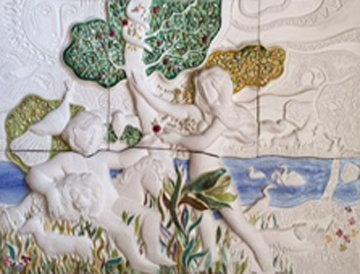 Garden of Eden Ceramic Sculpture 37x46  Huge Sculpture - Sunol Alvar