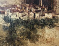 Catalan Village  1978 (early) 33x39 Original Painting - Sunol Alvar
