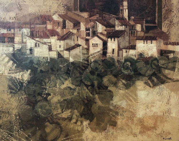 Catalan Village  1978 (early) 33x39 Original Painting by Sunol Alvar