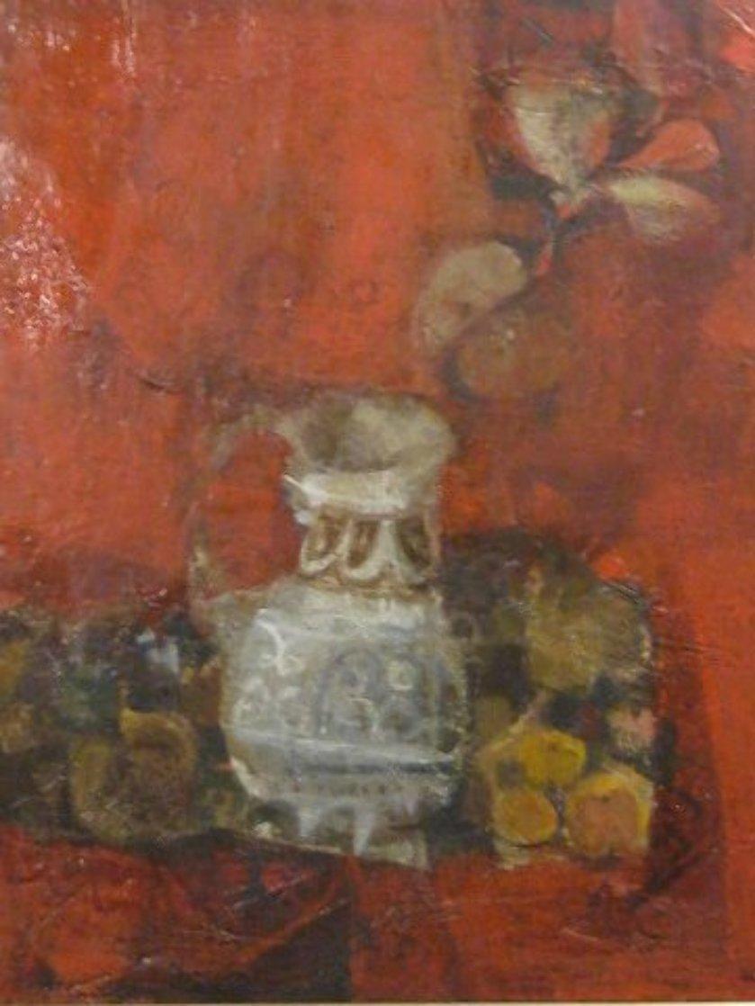 Bodegon Sobre Rojo 1970 36x32 Original Painting by Sunol Alvar