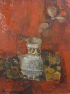 Bodegon Sobre Rojo 1970 36x32 Original Painting - Sunol Alvar