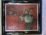 Bodegon Sobre Rojo 1970 36x32 Original Painting by Sunol Alvar - 2