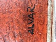 Bodegon Sobre Rojo 1970 36x32 Original Painting by Sunol Alvar - 4