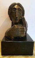 Mujer Con Paloma II Bronze Sculpture 1976 9 in Sculpture by Sunol Alvar - 0