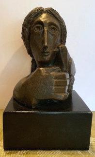 Mujer Con Paloma II Bronze Sculpture 1976 9 in Sculpture by Sunol Alvar