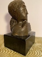 Mujer Con Paloma II Bronze Sculpture 1976 9 in Sculpture by Sunol Alvar - 3