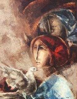 Campesinos a Amour 1965 44x35 Original Painting - Sunol Alvar
