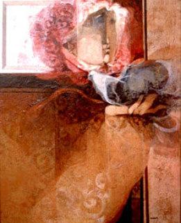 Hombre Y Paloma 32x26 Original Painting by Sunol Alvar