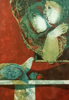 Two Woman With Dove AP 1978 Limited Edition Print by Sunol Alvar