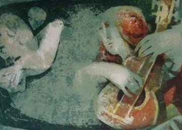 Woman With Guitar 1970 Limited Edition Print - Sunol Alvar