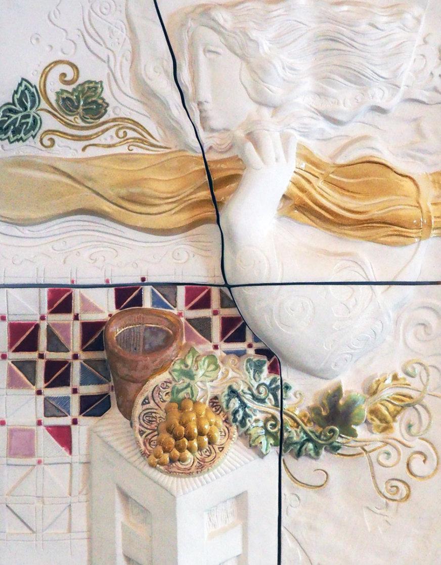 Four Seasons, Suite of 4 Ceramic Wall Sculptures 1980 25 in Sculpture by Sunol Alvar
