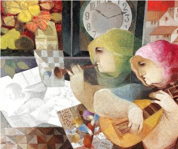 Tiempos De Musica Para Pablo Casals 2009 30x34 Original Painting - Sunol Alvar
