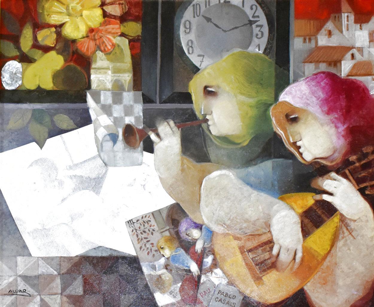 Tiempos De Musica Para Pablo Casals 2009 30x34 Original Painting by Sunol Alvar