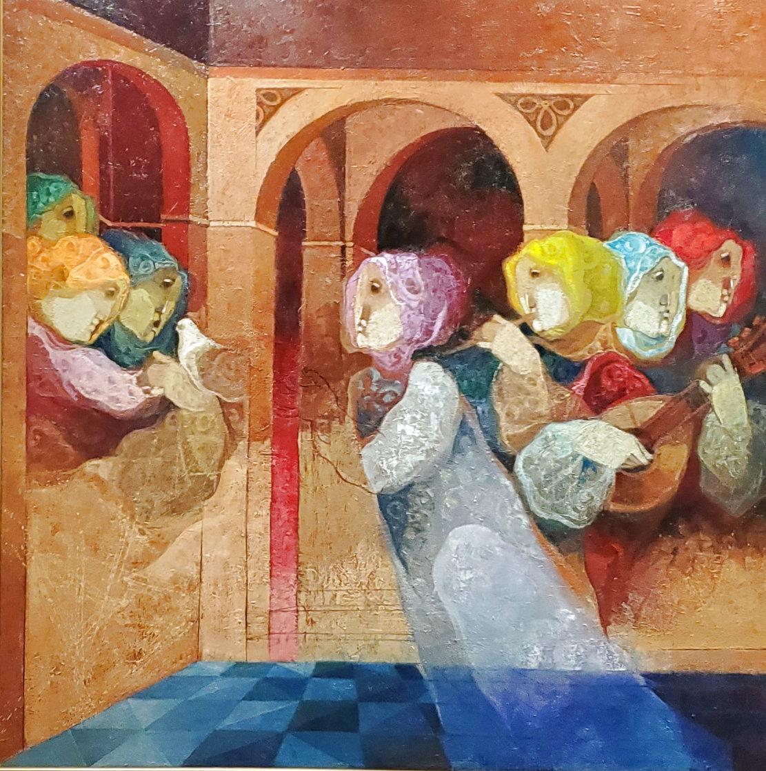 Musical Renaixent 59.5x59.5  Super Huge  Original Painting by Sunol Alvar