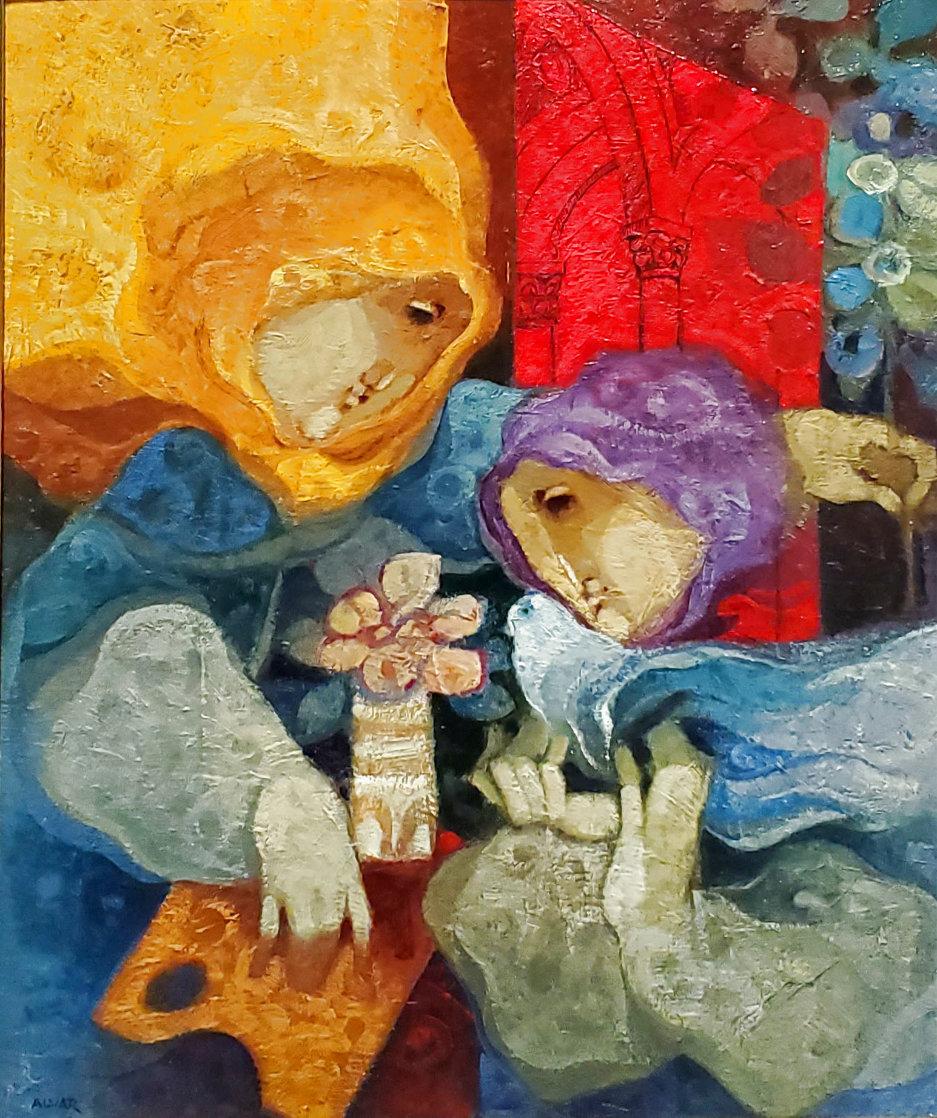La Inspiracion Constante Oil 1996 35x41 Original Painting by Sunol Alvar
