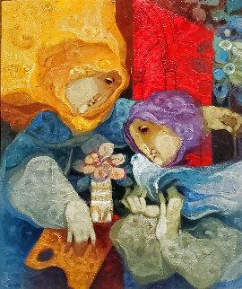Untitled 35 x 41.5 1996 Original Painting - Sunol Alvar