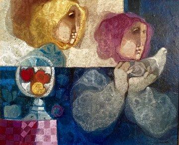 Comparturata Paloma oil on canvas 33x38 Original Painting - Sunol Alvar
