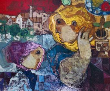 Untitled Painting 1990 32x28 Original Painting by Sunol Alvar