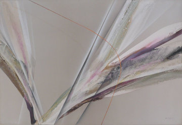 Untitled Abstract Painting 1982 48x72 Original Painting - Elba Alvarez