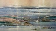 Sea At Dawn Triptych Watercolor 1987 47x72 Super Huge Watercolor by Elba Alvarez - 2