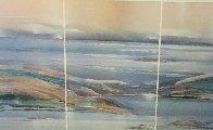 Sea At Dawn Triptych Watercolor 1987 47x72 Super Huge Watercolor by Elba Alvarez - 3